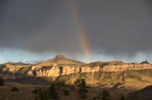 Brilliant rainbow over Sheep Mountain in the Wapiti Basin